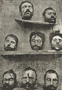 The heads of Armenian men decapitated during round-up and execution of community leaders in 1915